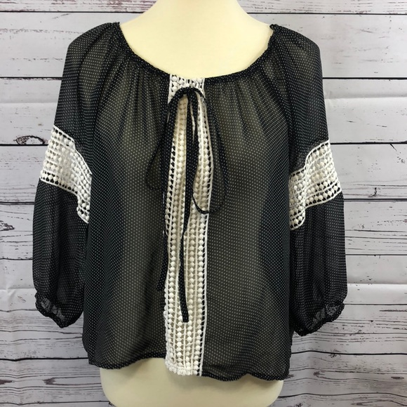 Tops - Black Polka Dotted Sheer Blouse